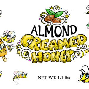 RAW and unfiltered Almond Butter Creamed Honey 1.1lb